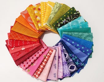 Rainbow Quilting Fabrics in 8, 16, and 32 Piece Mystery Bundles--Choose Fat Quarters or Fat Eighths
