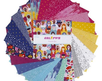 "GRL PWR 10 Inch Stacker - 42 Pcs Quilting Cotton Scraps designed by Damask Love for Riley Blake Designs - 10""x10"" Squares - 10-10650-42"