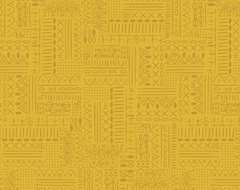 Art Gallery Fabrics, Hidden Stitches in Mustard, Hooked by Mister Domestic--Quilters Cotton OEKO-TEX Standard 100 Certified--HKD-22653