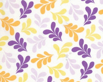 Free Spirit Fabric, Morning Tides by Mark Cesarik, MC14 Leaves Purple and Yellow