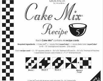 Moda Cake Mix Recipe 5--Foundation Piecing Pattern Pack--Quilt Pattern--Paper Piecing--Easy Half Square Triangles--CM5 Miss Rosie