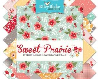 """Sweet Prairie 10 Inch Stacker - 42 Pcs by Sedef Imer of Down Grapevine Lane for Riley Blake Designs - 10""""x10"""" Fabric Squares - 10-6540-42"""