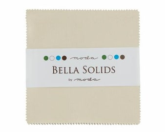 NATURAL Charm Pack Bella Solids Moda Basics 42 pieces 5x5 inch fabric squares--cream neutral beige--9900PP 12