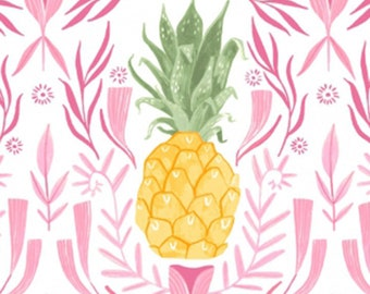 Pink Paradise, Designed by Rae Ritchie for Dear Stella Fabrics, White Pineapples, Fabric by the Yard, ST-SRR988WHT