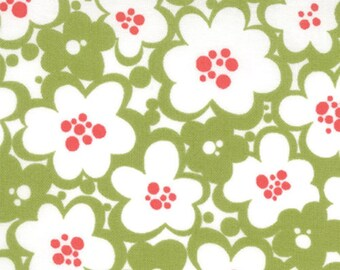 MoMo Fabric, Just Wing It by MoMo for Moda Fabrics, 32444-21 Flowers in Green