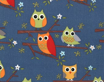 Jenn Ski Fabric, Kids Novelty Fabric, Navy Owls, Ten Little Things by Jenn Ski for Moda Fabrics, 30502-20