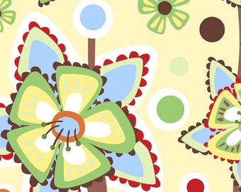 Wendy Slotboom Fabric, Frolic for In the Beginning Fabrics, 1WSA-2 Large Flowers