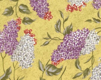 RJR Floral Fabric, Lilacs on Yellow, Veranda, by Yuko Hasegawa for RJR Fabrics, 0572-1