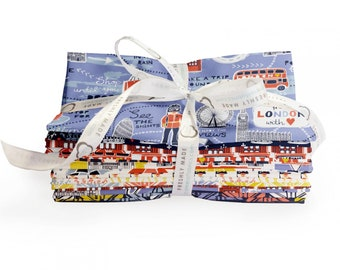 From London with Love, 10 Fat Quarters, Fat Quarter Bundle, by Vicky Yorke Designs, Camelot Fabrics - 30170108FQB