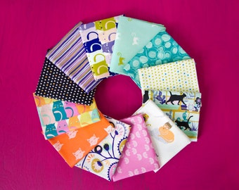Oh, Meow! 12 Print Bundle, Fat Quarter, Half Yard, or One Yard Quilting Fabric Bundles by Jessica Swift for Art Gallery Fabrics