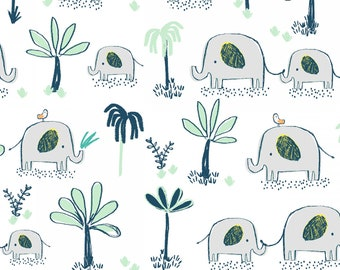 Hakuna Matata, Dear Stella Fabric by the Yard, White Elephant Trek, ST-972WHT