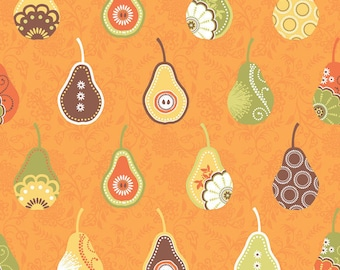 Samantha Walker Pears Fabric, Decadence by Samantha Walker for Riley Blake Fabrics, C2631 Pears in Orange