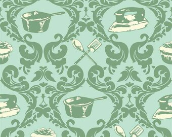 Riley Blake Fabric, Domestic Diva by Emily Taylor for Riley Blake, C5011 Aqua Green Kitchen Pans