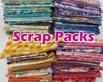1 lb of Modern Fabric Scraps, About 3 Yards of Fabric, Quilting Cotton Scrap Pack--Mixed, Novelty, Warm and Cool Colors