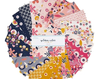 """Golden Aster 5"""" Stacker, 42 piece pack of Quilting Cotton Scraps by Gabrielle Neil of Design Studio for Riley Blake Designs--5-9840-42"""