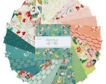 "Midsummer Meadow 5"" Stacker, 42 piece bundle of Designer Quilting Cotton Scraps by Katherine Lenius for Riley Blake Designs--5-9810-42"