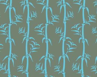 Modern Asian Fabric, Kyoto Bamboo, Gray/Blue Mist, Osaka by Debra Valencia for David Textiles, DV9035