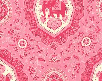 Lily Ashbury Fabric, Elephants, Trade Winds by Lily Ashbury for Moda Fabrics, 11453-17 Tea Rose