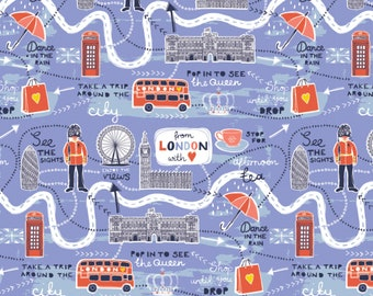 From London with Love Fabric by the Yard, Map in Lavender, by Vicky Yorke for Camelot Fabrics, 30170101