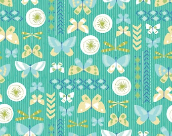 Amira, Camelot Fabrics, Designed by Elizabeth Silver, Butterflies in Turquoise, Fabric by the Yard, SKU: 27170101 #2
