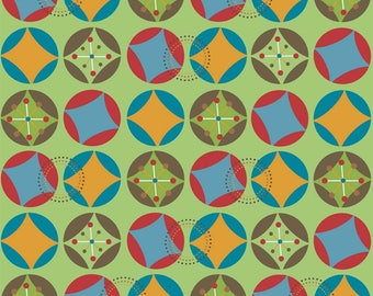 Riley Blake Fabric, Hooty Hoot by Doohikey Designs, C3013 Green Starburst