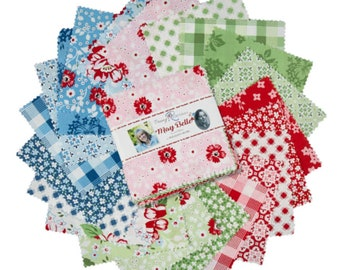 """May Belle 5"""" Stacker, 42 piece bundle of Designer Quilting Cotton Scraps by Jodi Nelson for Riley Blake Designs--5-7650-42"""