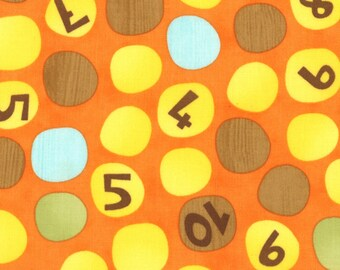 Jenn Ski Fabric, Numbers on Dots in Orange, Ten Little Things by Jenn Ski for Moda, 30503-12