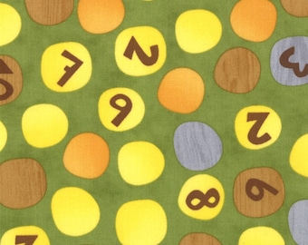 Jenn Ski Fabric, Numbers on Dots in Green, Ten Little Things by Jenn Ski for Moda, 30503-17