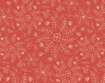 Art Gallery Fabrics, Crimson Dance, Wild & Free by Maureen Cracknell--Quilting and Mask Fabric, OEKO-TEX Standard 100 Certified--WFR-143