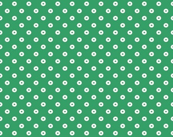 Riley Blake Fabric, Sugarhouse Park Dot Green, Cotton Fabric by the Yard and Fat Quarters, Quilting Fabric, C8897-GREEN