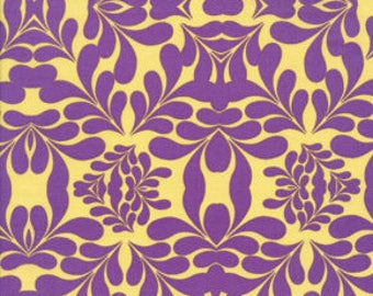 Free Spirit Fabric, Morning Tides by Mark Cesarik for Free Spirit, MC13 Diamond Leaves Damask in Purple