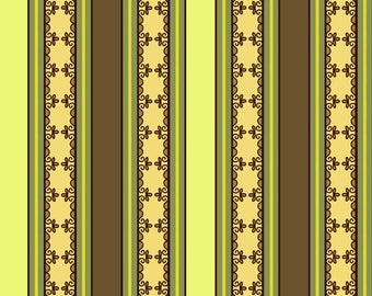 Lila Tueller Fabric, Fiona's Fancy by Lila Tueller for Riley Blake Fabrics, C2676 Gold Green Fiona Stripe