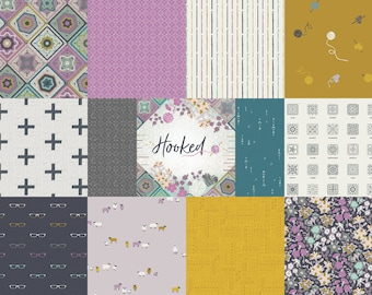 Hooked, 12 Print Bundle, Fat Quarter, Half Yard, or One Yard Quilting Fabric Bundles by Jessica Swift for Art Gallery Fabrics