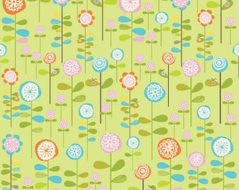 Happier Fabric by Deena Rutter for Riley Blake Designs, C5502 Green Flowers
