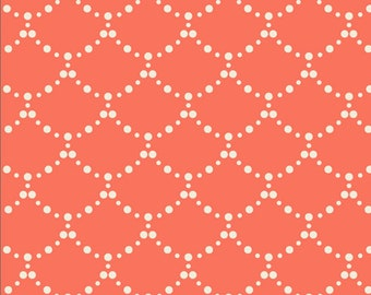 Art Gallery Fabrics, Ripples Coral from Millie Fleur by Bari J--Quilting and Mask Fabric, OEKO-TEX Standard 100 Certified--MFL-21351