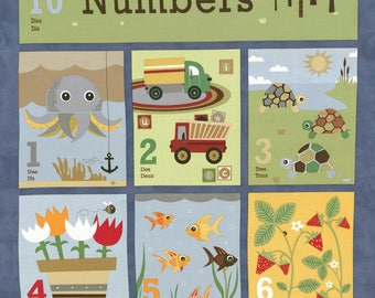 Craft Project, Baby Book, Jenn Ski Fabric, Navy Numbers Panel, Ten Little Things by Jenn Ski for Moda Fabrics, 30500-12