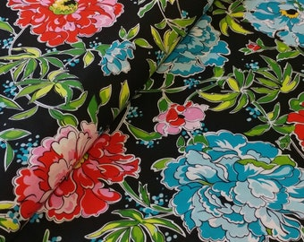 Floral Fabric by the Yard, Pink and Aqua Blue Carnation Flowers on Black, Large Scale Print, Fabric Traditions, Needlecraft Inc---NC-CARN-BL