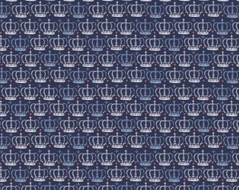 From London with Love Fabric by the Yard, Crown in Blue, by Vicky Yorke for Camelot Fabrics, 30170105 #2