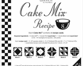 Moda Cake Mix Recipe 8--Foundation Piecing Pattern Pack--Quilt Pattern--Paper Piecing--Easy Half Square Triangles--CM8 Miss Rosie