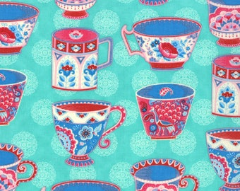 Tea Cups Novelty Fabric, Trade Winds by Lily Ashbury for Moda Fabrics, 11452-13 South Pacific