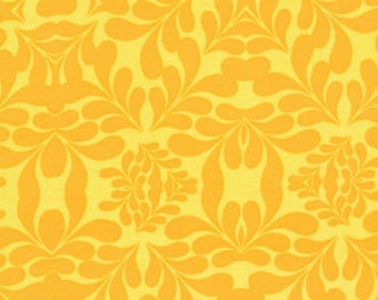 Free Spirit Fabric, Morning Tides by Mark Cesarik for Free Spirit, MC13 Diamond Leaves Damask in Yellow
