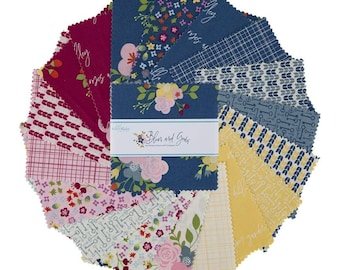 """Bloom and Grow 5"""" Stacker, 42 piece pack of Quilting Cotton Scraps by Simple Simon and Company for Riley Blake Designs--5-10110-42"""