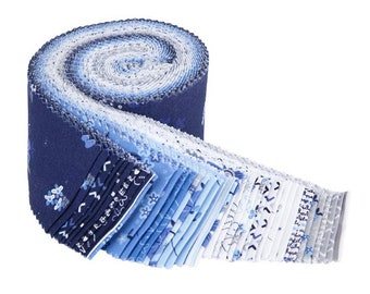 """Blue Stitch 2 1/2"""" Rolie Polie - 40 Pcs by Christopher Thompson for Riley Blake Designs - Fabric Strips - RP-10060-40"""