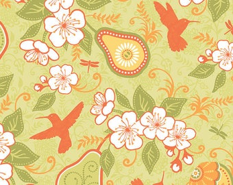 Samantha Walker Fabrics, Decadence by Samantha Walker for Riley Blake Fabrics, C2630 Hummingbirds and Pear Blossoms in Green