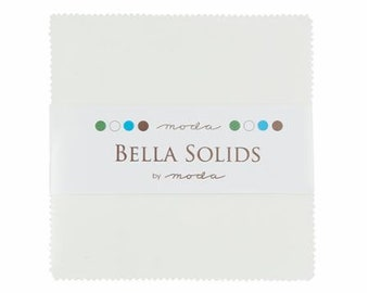 WHITE Charm Pack Bella Solids Moda Basics 42 pieces 5x5 inch fabric squares--white neutral--9900PP 98