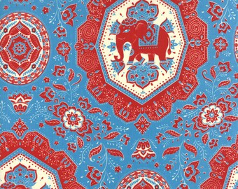 Lily Ashbury Fabric, Elephants, Trade Winds by Lily Ashbury for Moda Fabrics, 11453-22 Macaw Blue