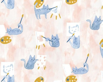 Dear Stella Fabrics, Painting Class, Creative Cats Cotton Fabric by the Yard and Fat Quarters, Quilting Fabric, STELLA-DCJ1688-MULTI