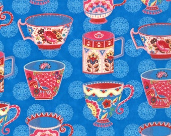 Lily Ashbury, Tea Cups Novelty Fabric, Trade Winds by Lily Ashbury for Moda Fabrics, 11452-12 Macaw Blue