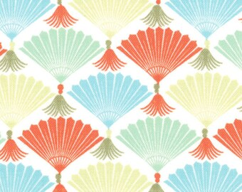 Kate Spain Fabric, Fans in Multi Colors, Good Fortune by Kate Spain for Moda Fabrics, 27103-14