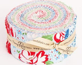 """May Belle 2 1/2"""" Rolie Polie, 40 piece bundle of Designer Quilting Cotton Strips by Jodi Nelson for Riley Blake Designs--RP-7650-40"""